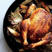 Pan-Raosted Chicken with Fennel, Parsnips & Scallions