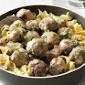 Mom's Swedish Meatballs Over Noodles