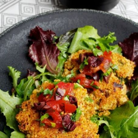 Feta-Scallion Couscous Cakes With Tomato-Olive Salad