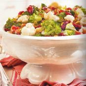 BROCCOLI-CAULIFLOWER SALAD with Dried Cranberries and Pistachios