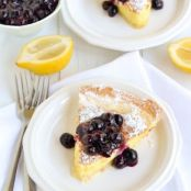 Lemon Cake Pie with Blueberry Compote