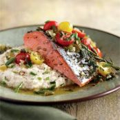 Salmon with White Corn Grits and Tomato Salsa