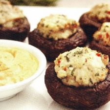 Chicken Stuffed Mushrooms with Smoked Paprika Aioli