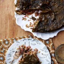 Beef, Orzo & Grape Leaf Pie