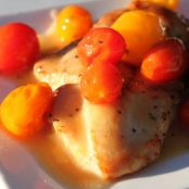 Chicken with Cherry Tomatoes in White Wine Reduction