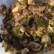 Roasted Broccoli with Sautéed Mushrooms & Shallot