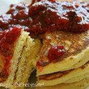 Cornmeal Pancakes with Rasperry Compote