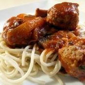 Spaghetti and Sausage Meatballs with Caramelized Onion and Portabella Mushroom Sauce