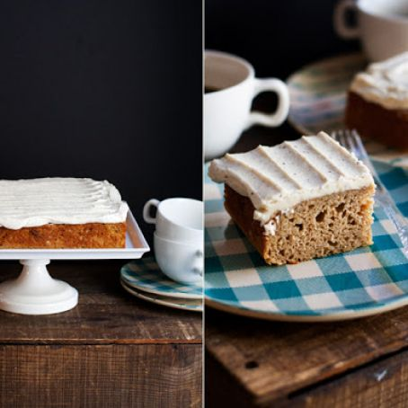 Applesauce Spice Cake with Brown Butter Cream Cheese Frosting