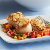 Gorgonzola Crusted Scallops with Mango & Sweet Onion Ratatouille