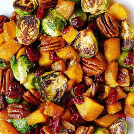 Roasted Brussel Sprouts with Butternut Squash
