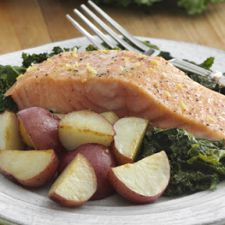 Lemony Roasted Salmon with Potatoes and Kale