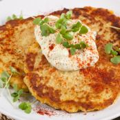Spaghetti Squash Latkes with Curry Yogurt Dip