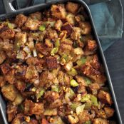 Sausage Apple Dressing with Bacon & Mushrooms