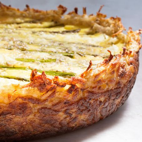 Asparagus and Two Cheese Quiche with Hash Brown Crust