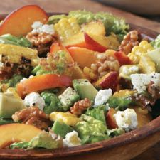 Red-Leaf Lettuce Salad with Grilled Corn, Peaches, Avocado and Walnuts
