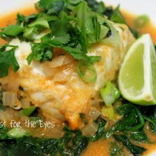 Thai Coconut Curry Halibut with Fresh Sauteed Spinach