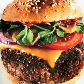 Triple Beef Cheeseburgers with Spiced Ketchup & Red Vinegar Pickles