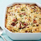 Cheesy Baked Orzo with Bacon & Peas