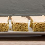 Oatmeal Cookie Bars with Peaches and Creme Frosting