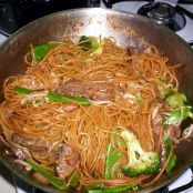 Lo Mein with Flank Steak, Broccoli and Snow Peas