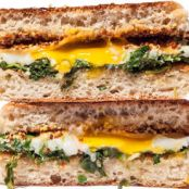 Seared Arugula, Egg, and Cheddar Breakfast Sandwich