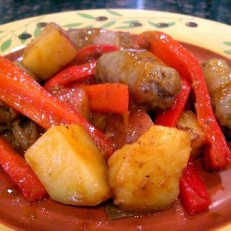 Skillet Italian Sausages with Peppers, Onions, and Potatoes