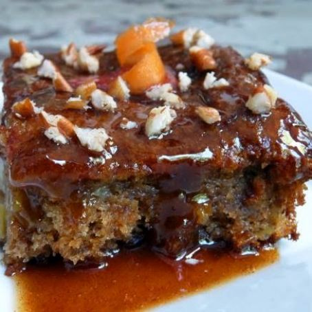 Sticky apple carrot pudding cake with apricot cinnamon sauce
