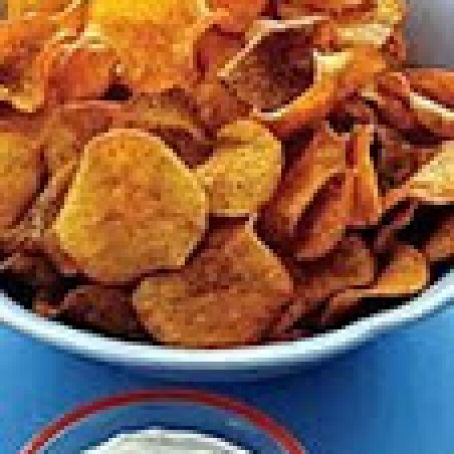 Sweet Potato Chips with Caramelized Onion Dip