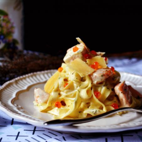 Salmon Tagliatelle with Creamy Lemon Dill Sauce
