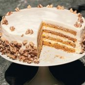 Four Layer Pumpkin Cake w/ Orange Cream Cheese Frosting