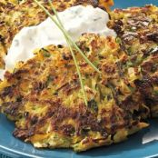 Zucchini, Carrot, and Parsnip Patties with Lemon Yogurt Sauce
