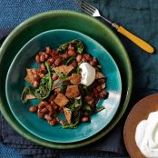 Cranberry Beans With Greens, Yogurt & Crisped Pita
