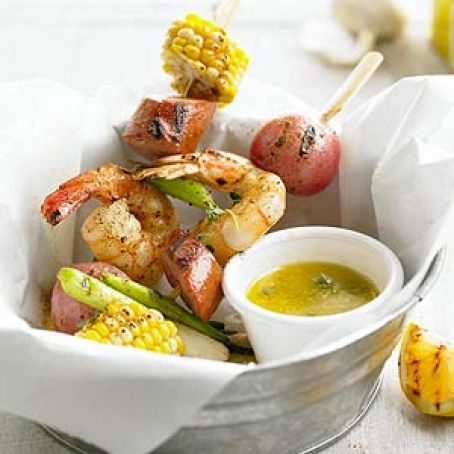 Shrimp Boil On A Stick With Thyme Lemon Butter