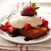 Toasted Pound Cake with Strawberries & Chocolate Cream