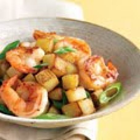Shrimp with Scallions and Crispy Potatoes
