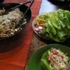Asian-style Chopped Salad on Lettuce spears