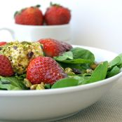 Strawberry-Spinach Salad with Champagne-Pear Vinaigrette and Walnut-Crusted Chevre