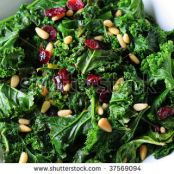 Sauteed Kale, Mushrooms, and Cranberries