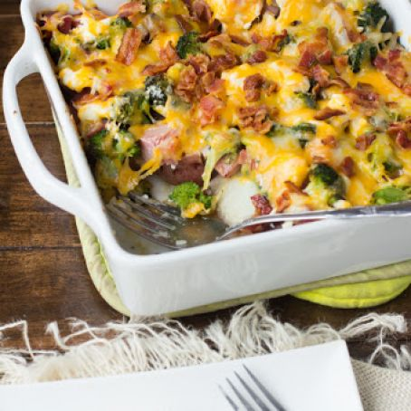 Cheesy Ham & Potato Bacon Casserole