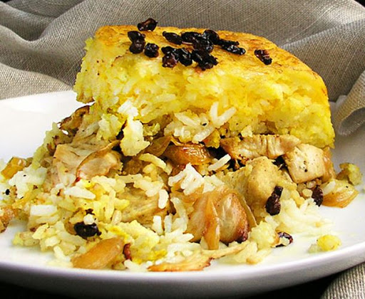 Persian Layered Chicken And Rice With Yogurt Tachin