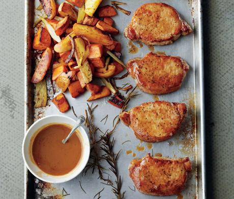 Cider Dijon Pork Chops with Roasted Sweet Potatoes & Apples Recipe - (4.6/5) image